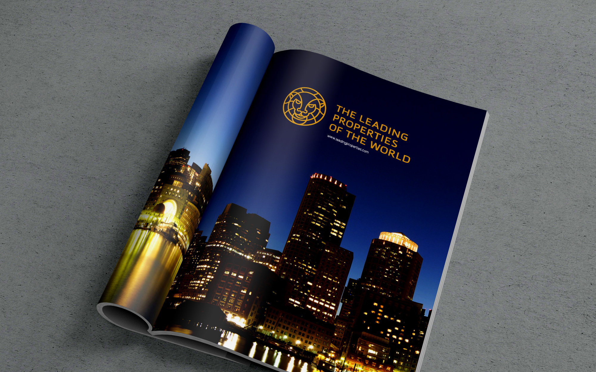 Luxury real estate logo sample in the magazine.