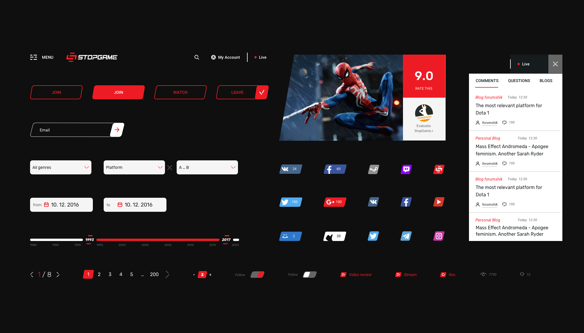 UI-kit for gaming web-site