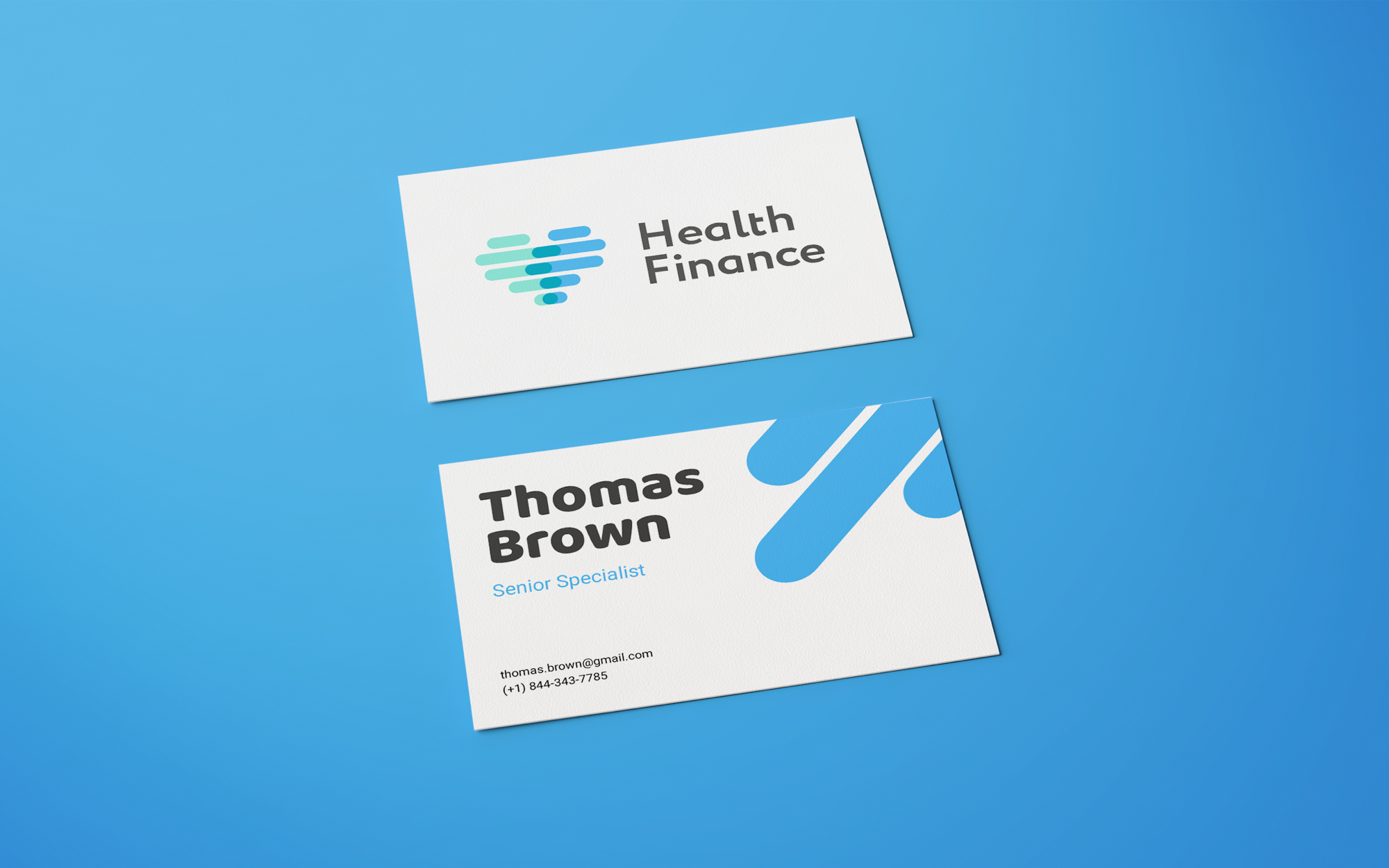 Business cards for health finance fintech startup
