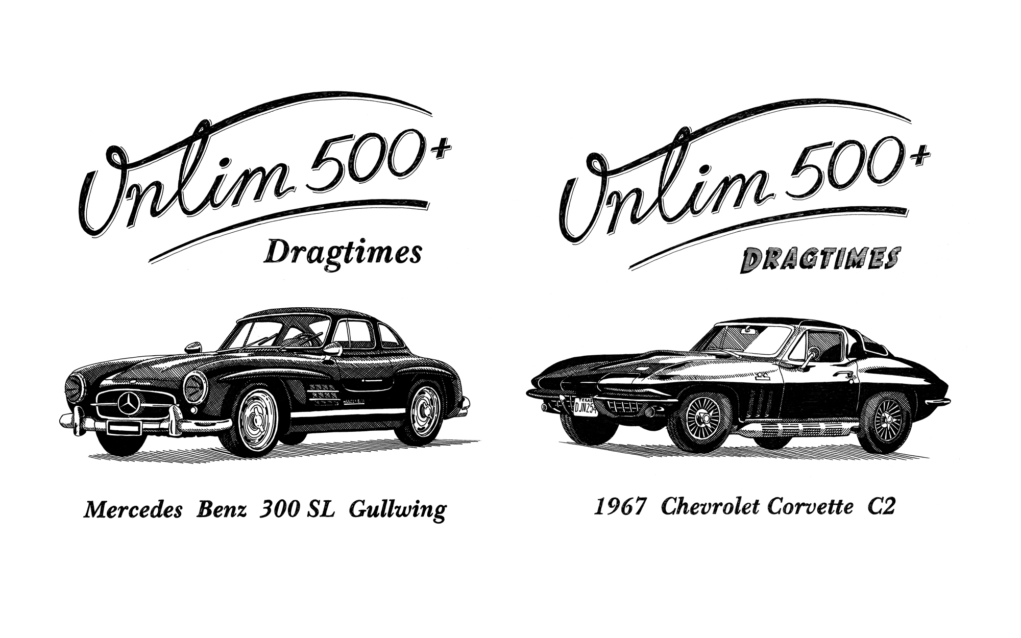 Oldtimer illustrations: Chevrolet Corvette and Mersedes Benz 300 SL Gullwing