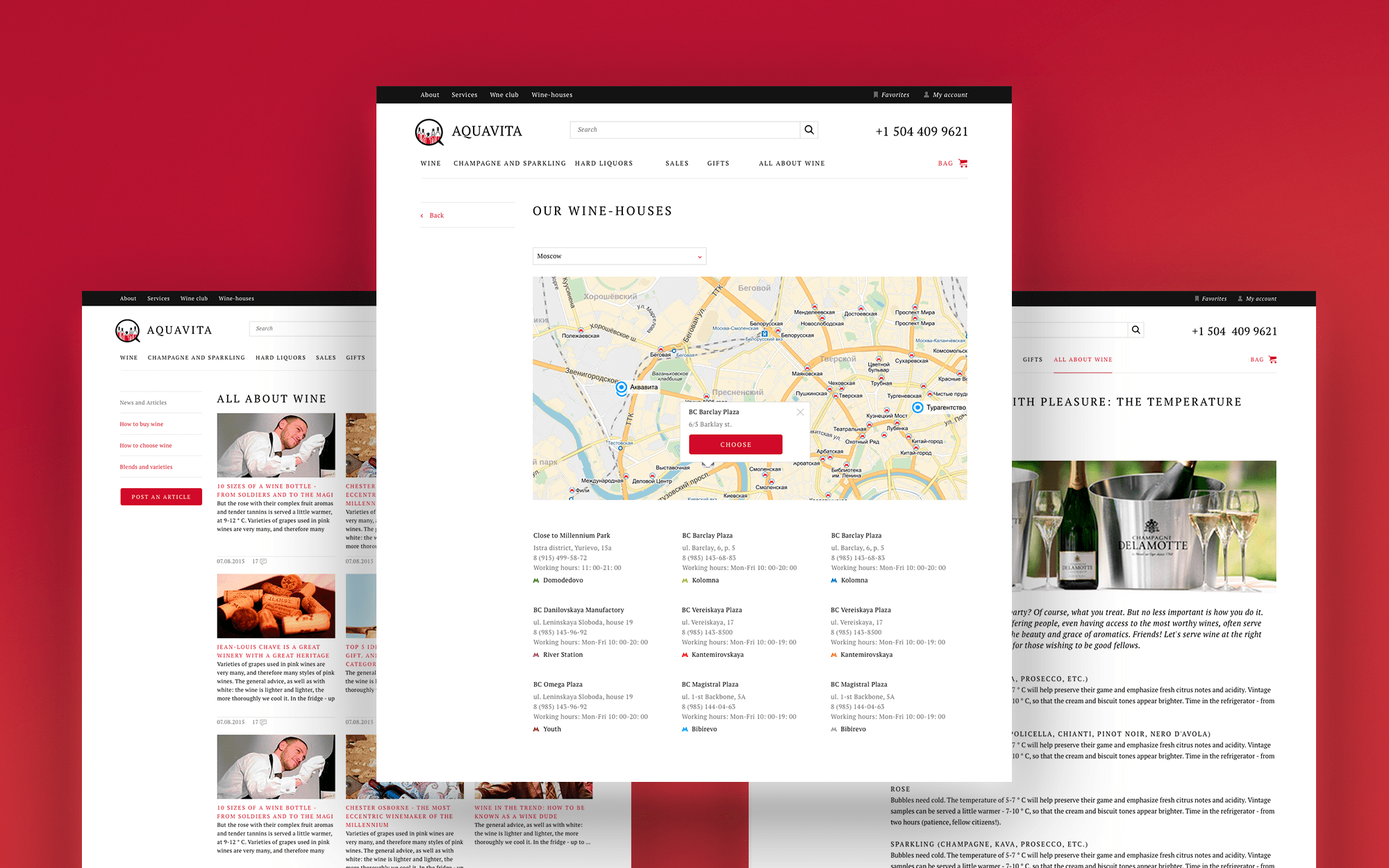 Onliner wine store inner pages design