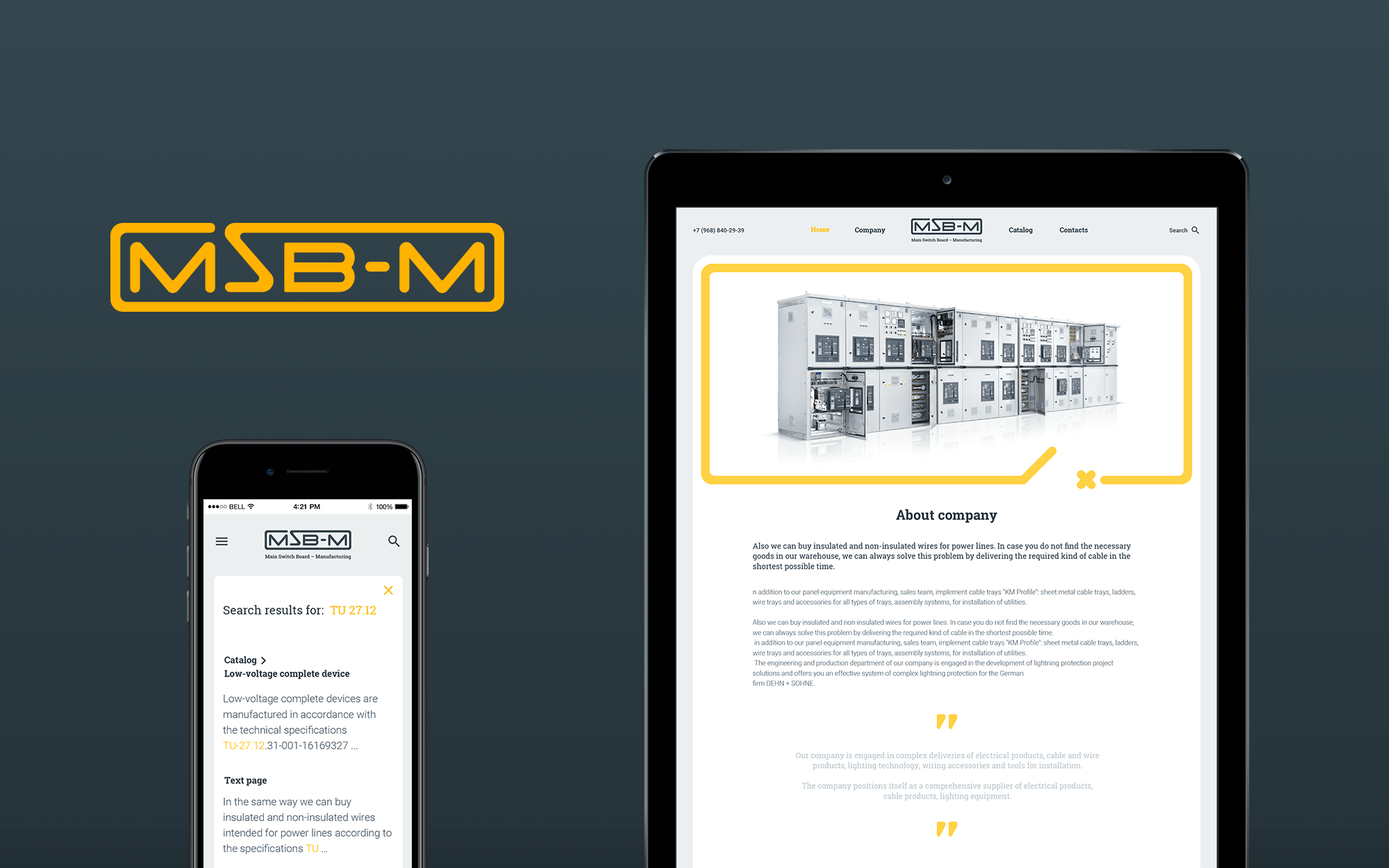 Responsive web-site design of industrial company
