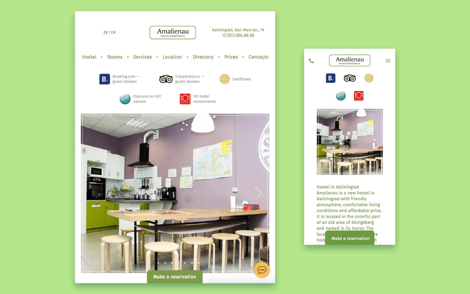 Hostel site responsive interface design