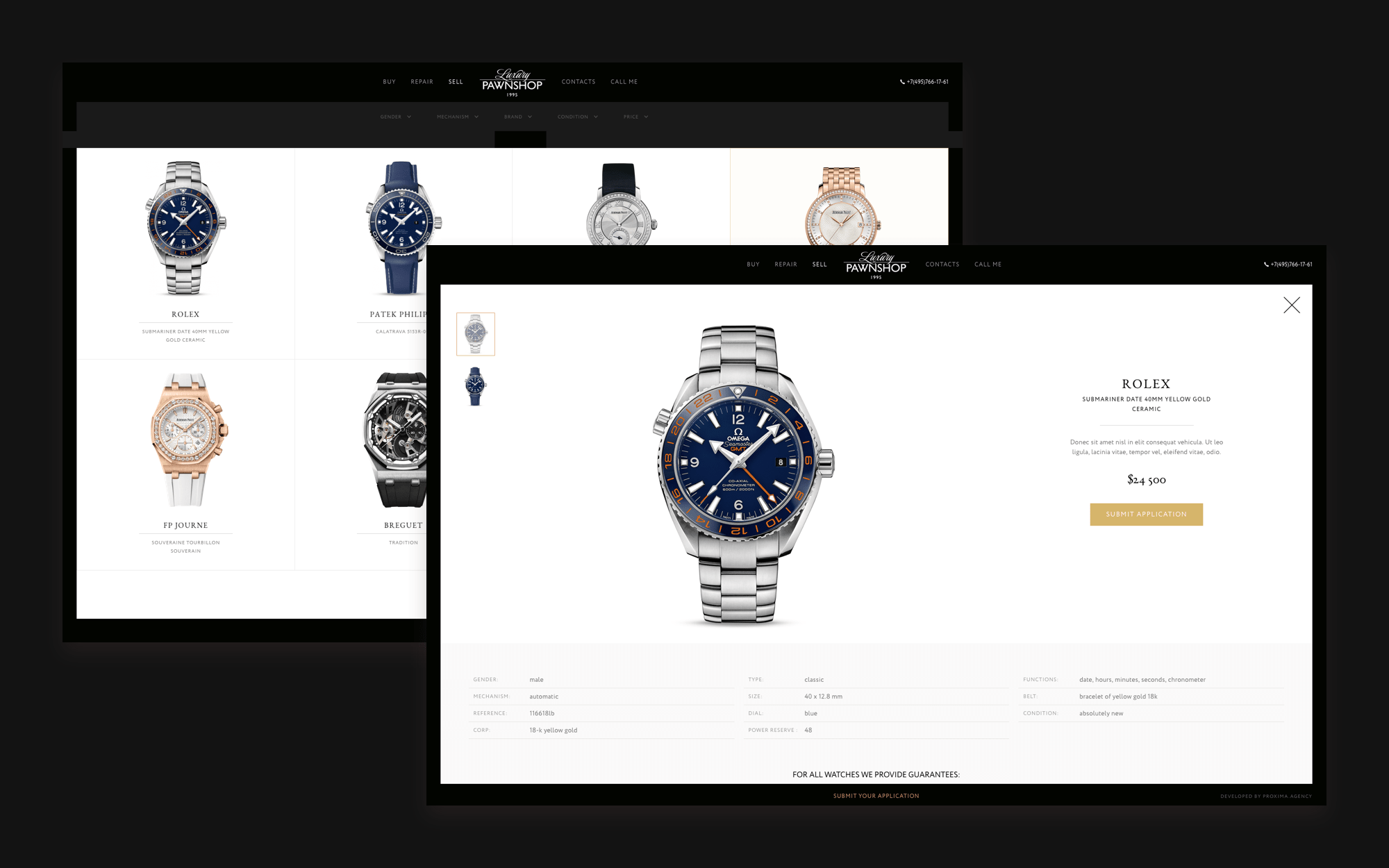 Interface of luxury pawnshop web-site