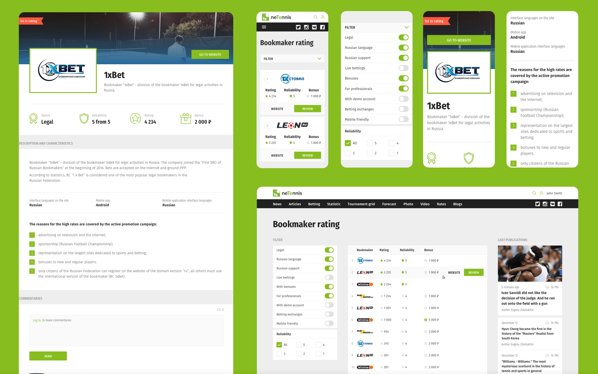 Bookmaker rating web-design