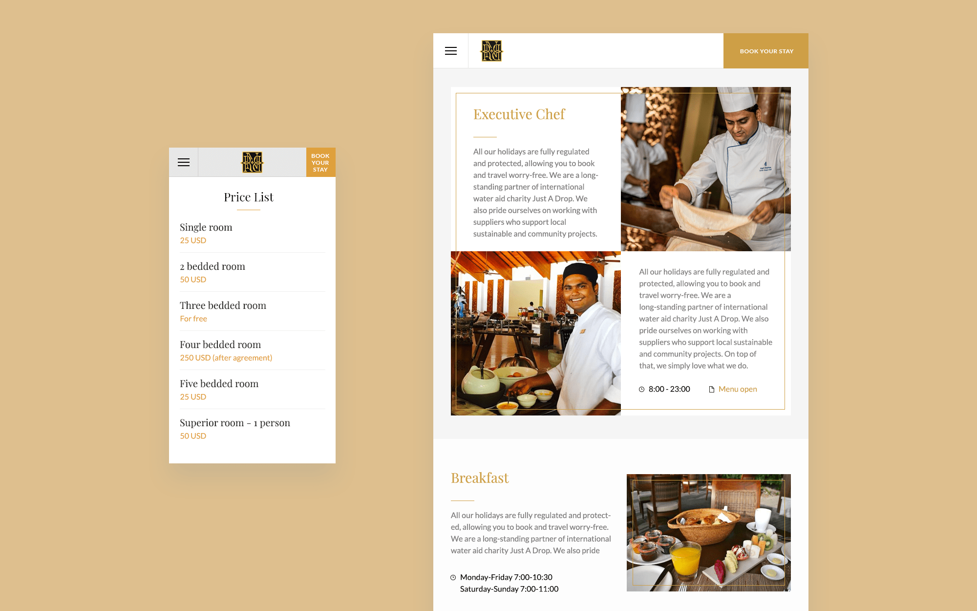 Web-design for a hotel