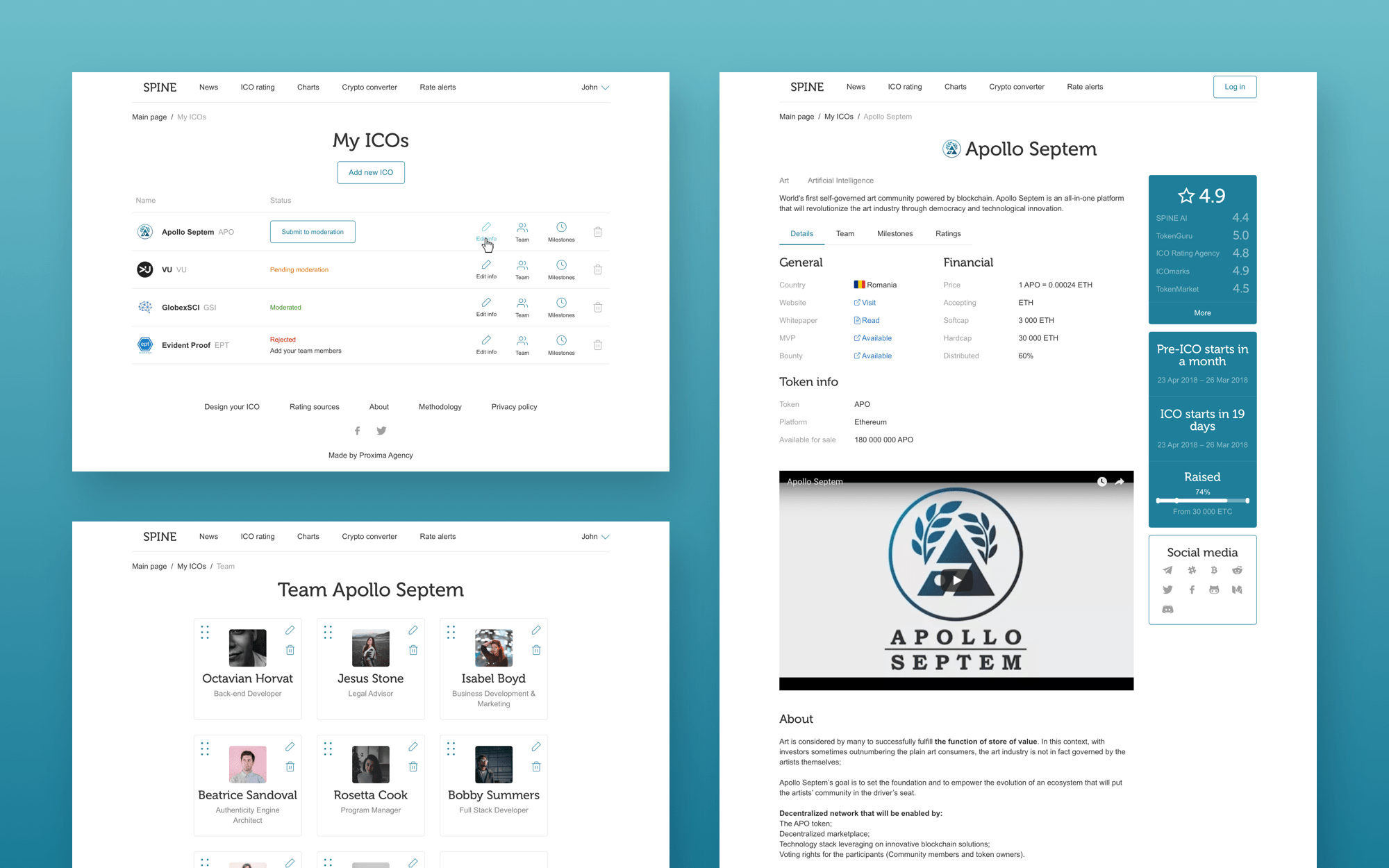 Creation of design layouts for ICO startup's catalog