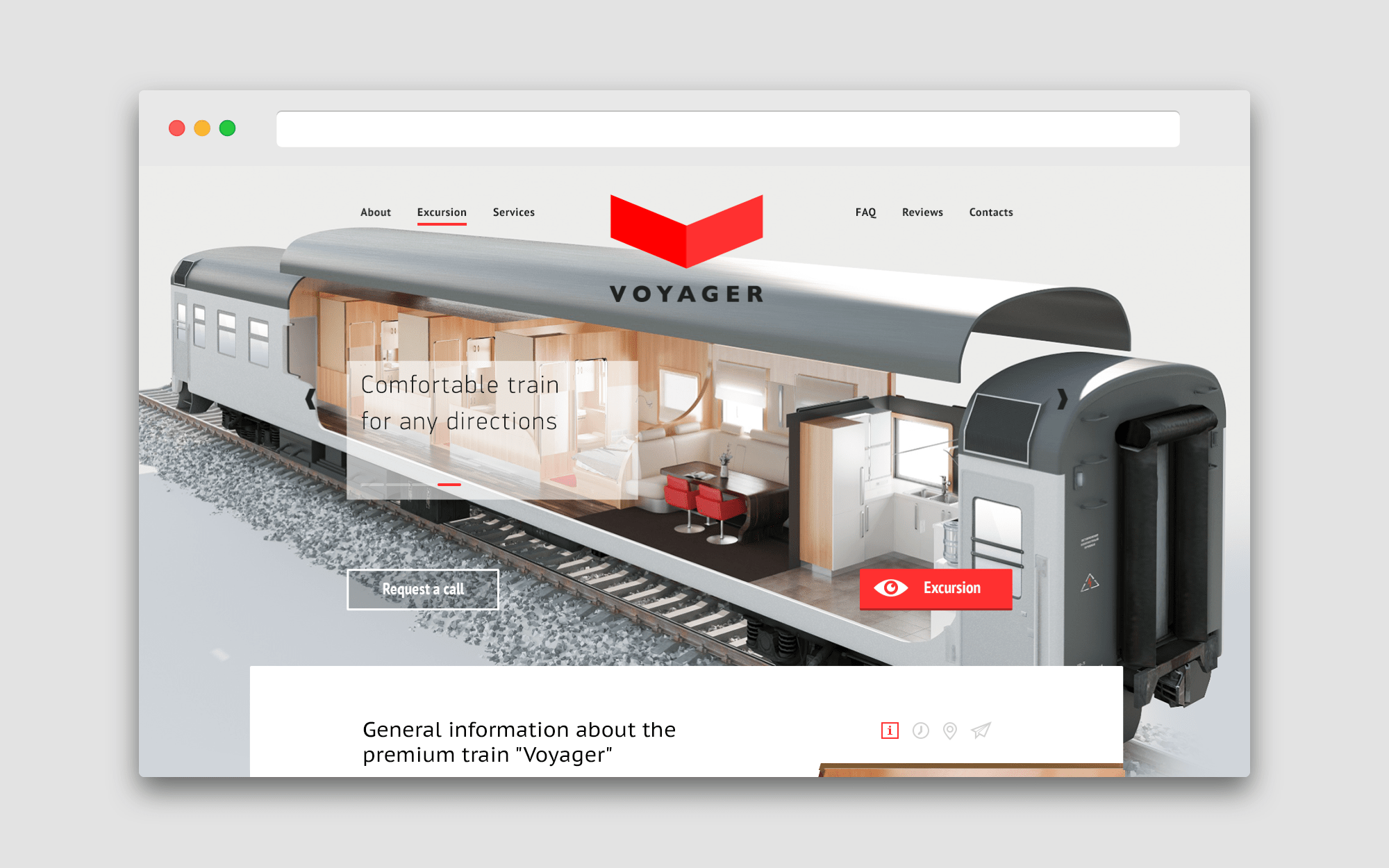 web-site design for a train